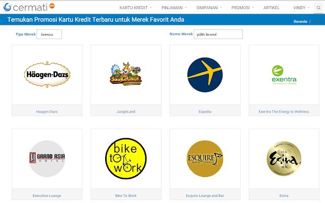 Ragam brand yang dapat menggunakan kartu kredit dalam transaksisnya.