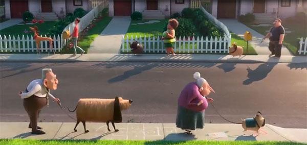 Tetangga Kevin Minion ramai keluar mengajak jalan-jalan hewan peliharaannya. Despicable Me