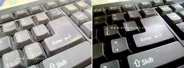 Hasil membersihkan lemak/kotoran pada keyboard