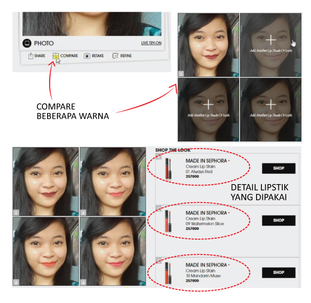 Tutorial pada Sephora Virtual Artist