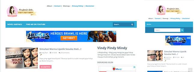 Tampilan lama blog Vindy Pindy Mindy