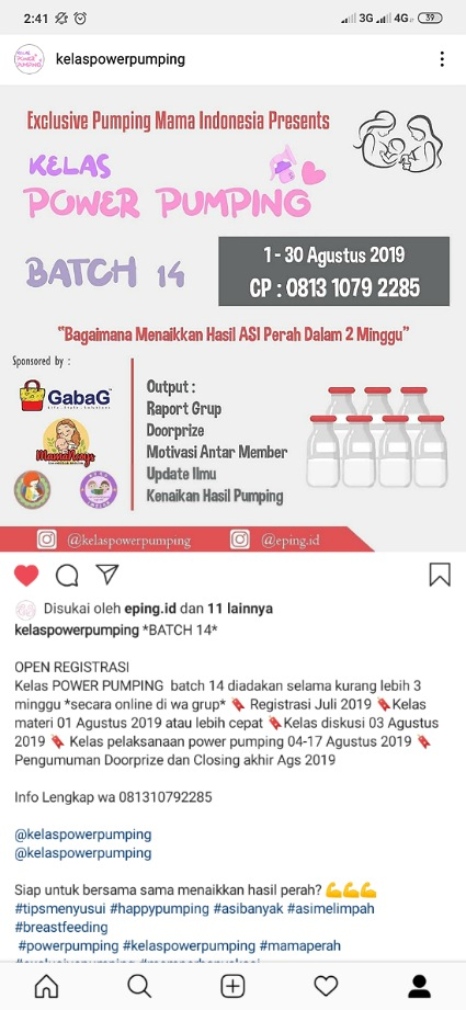 Instagram kelas power pumping